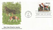 1984 Fdc #2101 ~ Black and Tan Coonhound & American Foxhound ~ 20¢ ~ Fleetwood