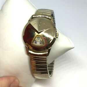 Vintage 1950's Lord Elgin Chevron 14K Gold Filled Jump Hour Watch W/Speidel Band