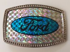 Vintage 80's NO/S Ford Reflective Classic Oval Logo Retro Belt Buckle Cool Rare!