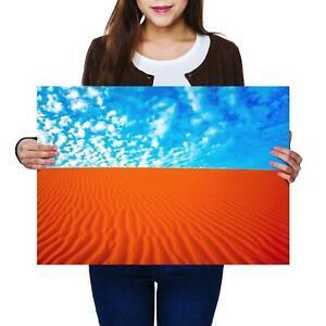 A2 | Hot Desert Sand Blue Cloudy Sky - Size A2 Poster Print Photo Art Gift #2057