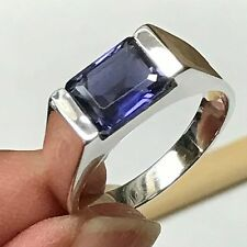 Natural 2ct Iolite Water Sapphire Emerald Cut 925 Sterling Silver Men's Ring 8