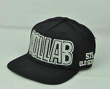 Collab Old School Mens Adjustable Snap Back Flat Bill Black White Hat Cap