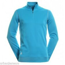 Adidas Golf Contrast Textured Zip Mock Sweatshirt Aquatic/Cloud Sz - M