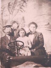 Antique 1900s Photo Postcard Bird Family in Car RPPC Man Wife Boy Girl Unposted
