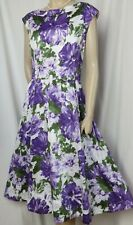 Laura Ashley Sommerkleid 42 Hochzeit weiß lila grün Blumen Baumwolle Kleid