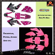 PINK GIRL CRF50 PLASTICS + TDRMOTO GRAPHICS 50/70/90/110/125CC THUMPSTAR ATOMIK
