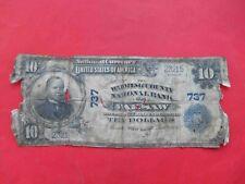 1902 $10 Wyoming County National Bank of Warsaw. NEW YORK 737 NY, USA