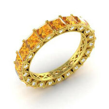 4.40 Ct Natural Diamond Citrine Eternity Band 14K Yellow Gold Ring Size L M N O