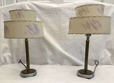 Pair of Mid Century Modern Bakelite Candlestick Lamps & 2 Tier Fiberglass Shades