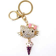 Hello Kitty Rhinestone Crystal Charm Purse Key Chain Multi-Color Chain Kitty