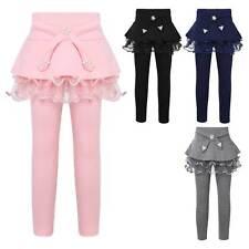 Kid Girls Footless Elastic Leggings Lace Ruffle Skirts Cotton Pantskirt Trousers