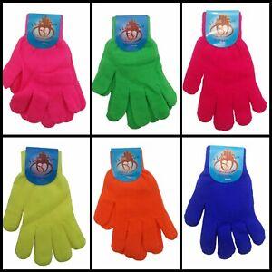 Mens Womens Children Neon Orange Blue Red Pink Green Yellow Stretchy Warm Gloves