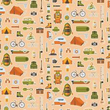 Fabric Let's Go Camping Equipment on Orange Cotton by the 1/4 yard BIN