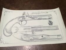 Collection Of Flintlock Style Rifle And Pistol Drawings Near Actual Size 8 Total