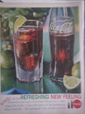 1962 Coca Cola Coke Bottle Glass Tangy Slice of Lime Zing Print Ad
