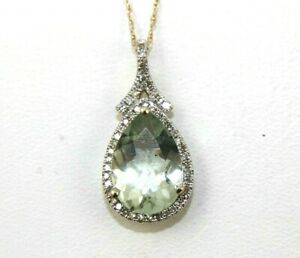 Natural Pear Shape Green Amethyst & Diamond Halo Pendant 14K Yellow Gold 3.68Ct