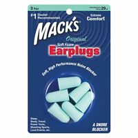 Mack's Original Soft Foam Ear Plugs - Sleep Work Study Travel Earplugs 3 pairs
