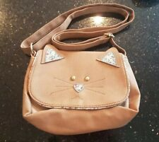 Brown Cat Face Handbag with floral detail