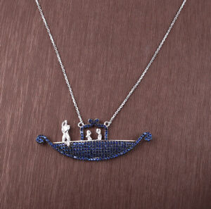 GONDOLA SAPPHIRE .925 SOLID STERLING SILVER NECKLACE #24064
