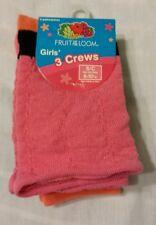 Fruit of the Loom Girls Crew Girls Socks Shoe Size 6-10.5 Small D7004