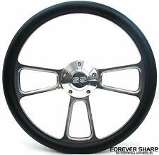 "14"" Billet Aluminum Black Wrap Steering Wheel Set Chevy Impala SS Nova 1964-66"