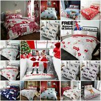 Christmas Duvet Cover Bedding Set Elf Pug Santa Clause Mail Stag Snow Man Tree