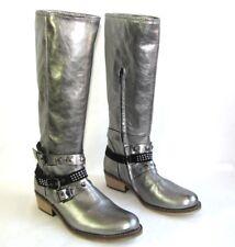 HIP ZAPATOS Botas de equitación en piel gris plata 37 NUEVO