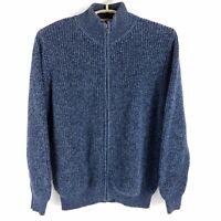 LL Bean Solid Blue Full Zip Knit Sweater Mens XL
