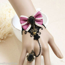 Gothic Violet Bowknot Bow Tie Floral Lace Stone Adjustable Ring to Bracelet SET