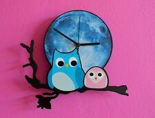 Owl with Baby Blue Moon Cartoon - Wall Clock