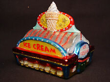 NOS Blown Glass Ice Cream Shop Parlor Xmas Tree Ornament Retro Dessert Cone