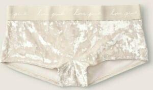 Victoria's Secret Pink Script Logo Boyshort Panty Vanilla Bean Velvet M L XL NEW