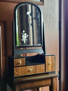 Antique Japanese Kyodia Dresser Top Vanity Etched Mirror Asymmetrical 3 Drawers