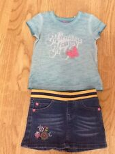 Brand New Baby Girl Size 9-12 Months Marvellous Mummy T-Shirt & Denim Skirt