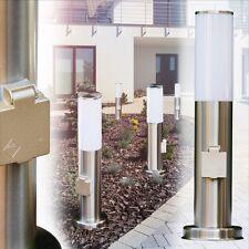 Sockelleuchte mit Steckdose Edelstahl Wege Lampe Außen Garten Steh Leuchten IP44