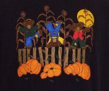 Fall Harvest Embroidered Sweatshirt Medium Teddy Bears Corn Stalks Pumpkins