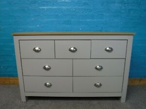 WIDE GREY&PINE 7DRAWER WIDE CHEST H77 W120 D40cm- VISIT OUR WAREHOUSE