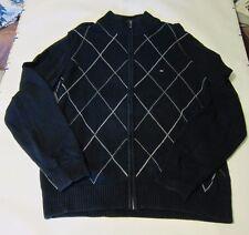 Used Men's Tommy Hilfiger Argyle Sweater Jacket L Navy Blue  Full Zip Cotton