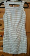banana republic striped white and tan dress, size 2