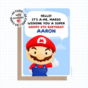 Personalised Super Mario Birthday Card - 1-UP Mushroom Luigi Mario Toad Themed