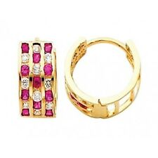 Solid 5mm 14k Yellow Gold 3 Row Ruby Round Simulated Diamonds Huggie Earrings