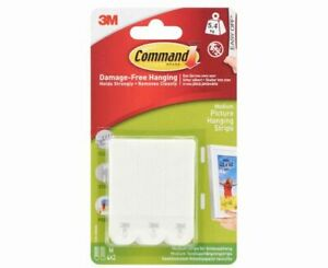 3M Command Picture Hanging Strips Medium - Pack of 4 | NEW