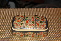 Vintage Lacquer Trinket Box Lidded Painted Autumn Leaves Colorful