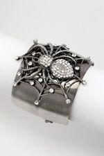 Black Spider Bracelet Antique Silver Charm Spider Web Bangle Bracelet