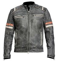 Men's Biker Vintage Motorcycle Cafe Racer Retro Distressed Leather Casual Jacket
