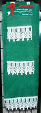 Vintage Sultan's Linens 3 Piece Green White Bath Towel Set New