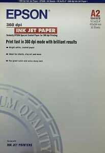 """Epson 360dpi Ink Jet Paper A2 S041078 16.5x23.4 """" 420x594mm 30 Sheet/Sheets"""