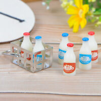 1:12 Dollhouse miniature metal milk basket with 6pcs bottles set for doll houR8Y