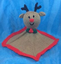 KNITTING PATTERN - Rudolph the Red Nosed Reindeer Baby Christmas Toy Comforter