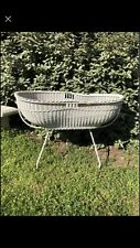 Beautiful Vintage White Wicker Bassinet With Original Casters. Cast Iron Frame